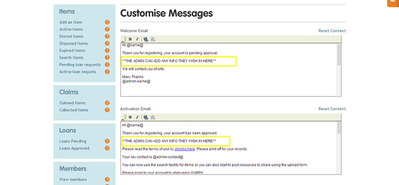 Customising messages that the system sends when users carry out an action on the site